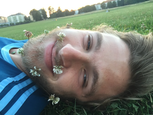 During our picknick I put flowers in his beard, then realized they had some mini-insects on them. =/